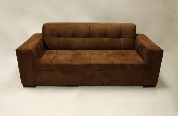 Faux Suede Brown Sofa, Chair, Ottoman