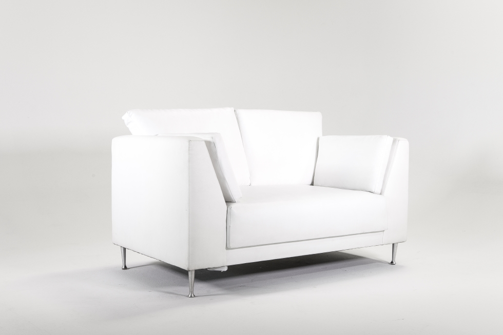 WHITE Faux-Leather 5' SOFA & 3' CHAIR